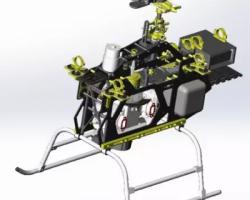神龙520-VI航拍机双缸汽油航拍直升机 (SolidWorks设计,Sldprt/Sldasm/SLDDRW/dxf格式)