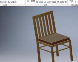 家用木质(实木)椅子模型 (Inventor设计,ipt/iam格式)