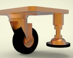 调整脚(通用型)脚轮+蹄脚组装款、组合脚轮(SolidWorks设计,Sldprt/Sldasm/SLDDRW格式)