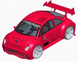 参数化的宝马甲壳虫汽车(ProE/Creos设计,Asm/Prt格式)