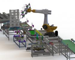 机器人操作的自动化生产线(SolidWorks设计,提供step/easm格式)