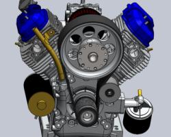 百力通先锋V型双缸发动机(SolidWorks设计,提供Sldprt/Sldasm格式)